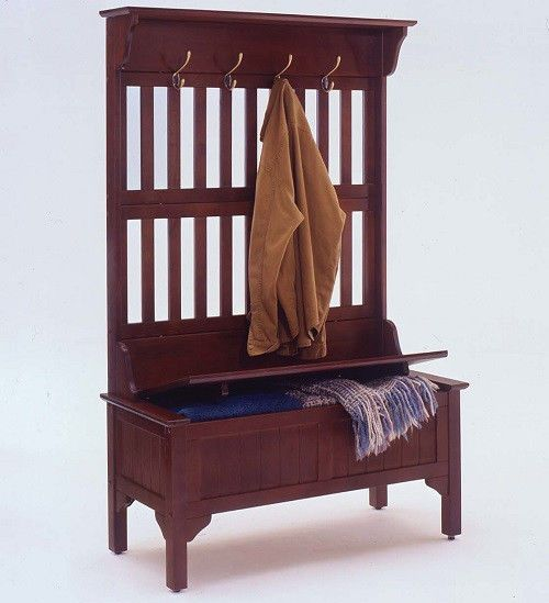 entryway hall tree coat rack umbrella stand shoes boot storage bench brown wood