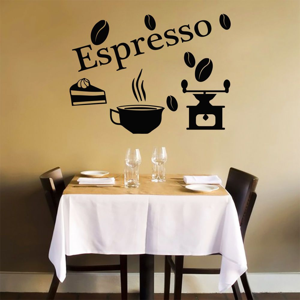 Wall Decals Quote Espresso Beans Decal Kitchen Cafe Decor Vinyl ...