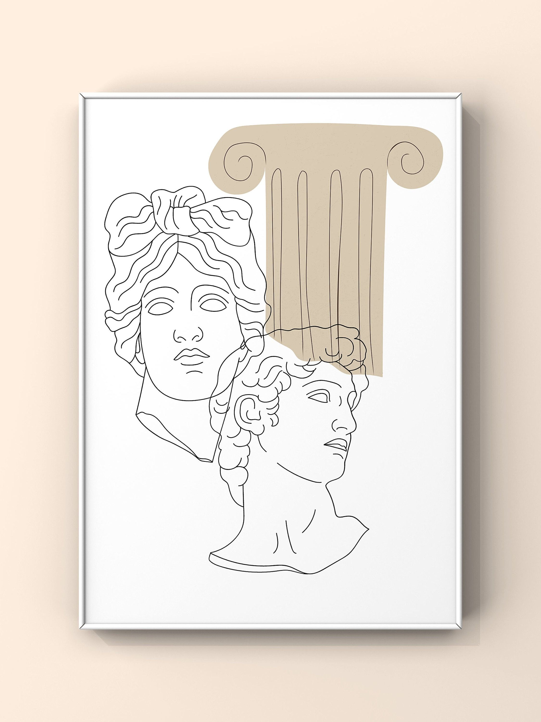 Ancient Greek Poster Sculptures And Column Fine Line Print Etsy In 2021 Minimalist Prints Art Greek Drawing Etsy Wall Art