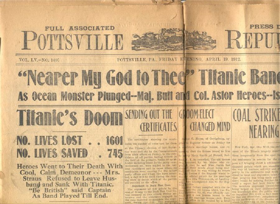 Titanic newspaper article Pottsville,Pa.