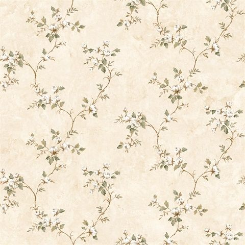 Neutral Country Rose Vine Wallpaper
