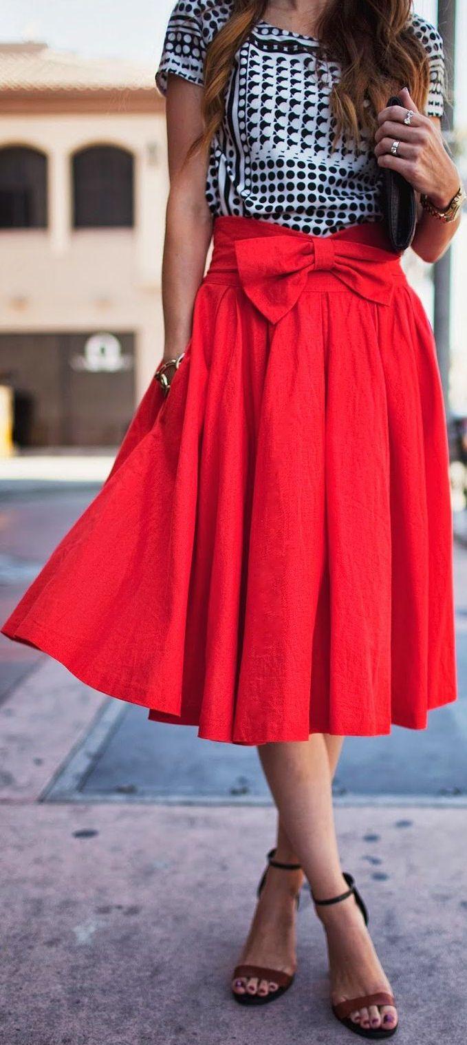 Red Bow Midi Skirt ❤︎ SO cUte!