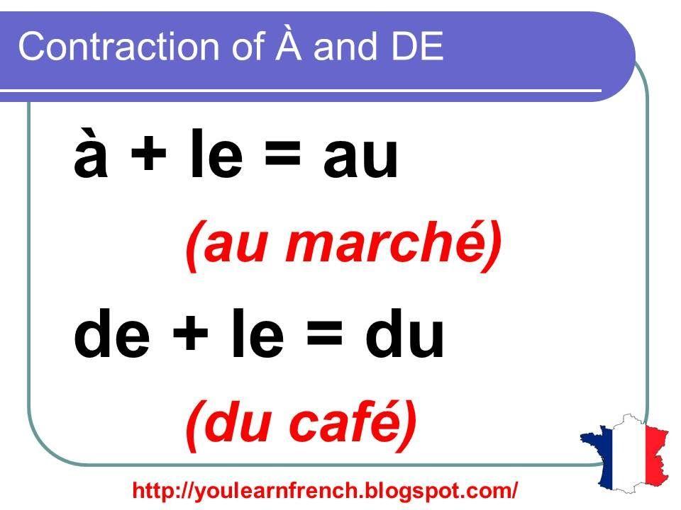 french lesson 140 contraction of prepositions a and de definite articles au du auquel. Black Bedroom Furniture Sets. Home Design Ideas