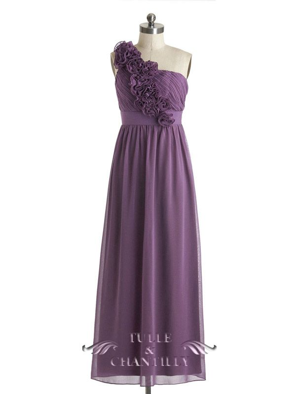 Elegant Long Bridesmaid Dress with Floral Straps TBQP327 | Chiffon ...