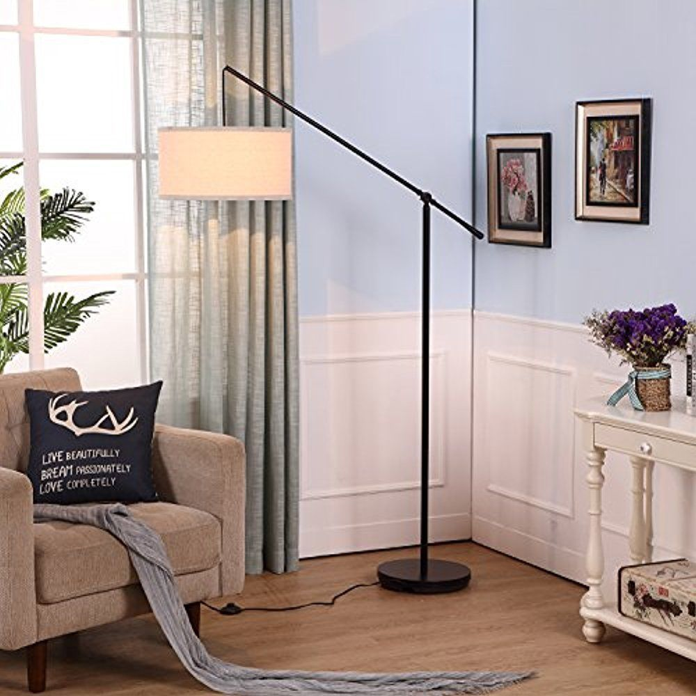 Led Floor Lamp Height Adjustable Home Office Decor Warm Light