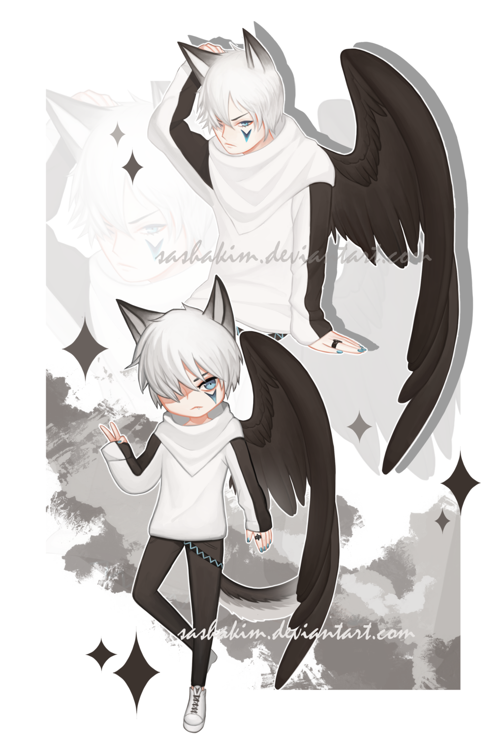 Sold Winged Wolf Boy By Sashakim Anime Anime Boy Anime Guy Blue Hair