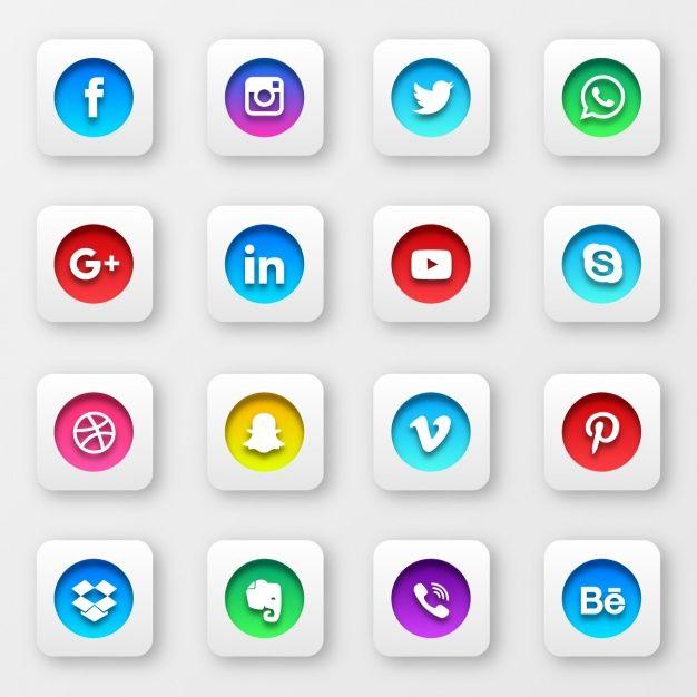 ソーシャルネットワークのボタンコレクションを無料でダウンロード | Icones redes sociais, Cartões interativos, Redes sociais