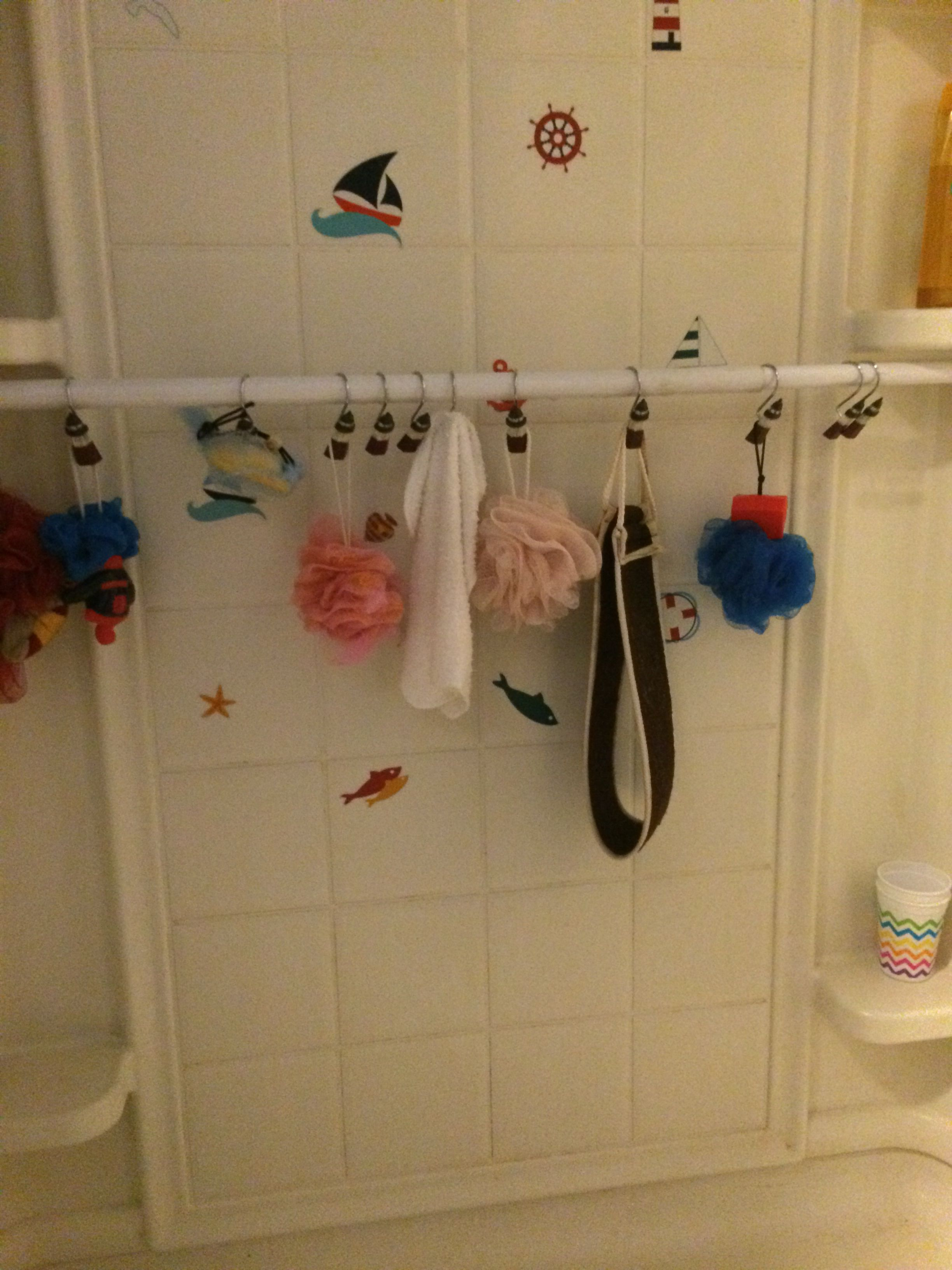 How To Repurpose A Shower Rod And Organize The Shower With