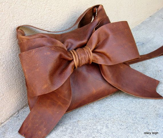 Distressed Brown Leather Bow Cross Body Bag by Stacy Leigh RESERVED for Stacy in Paris
