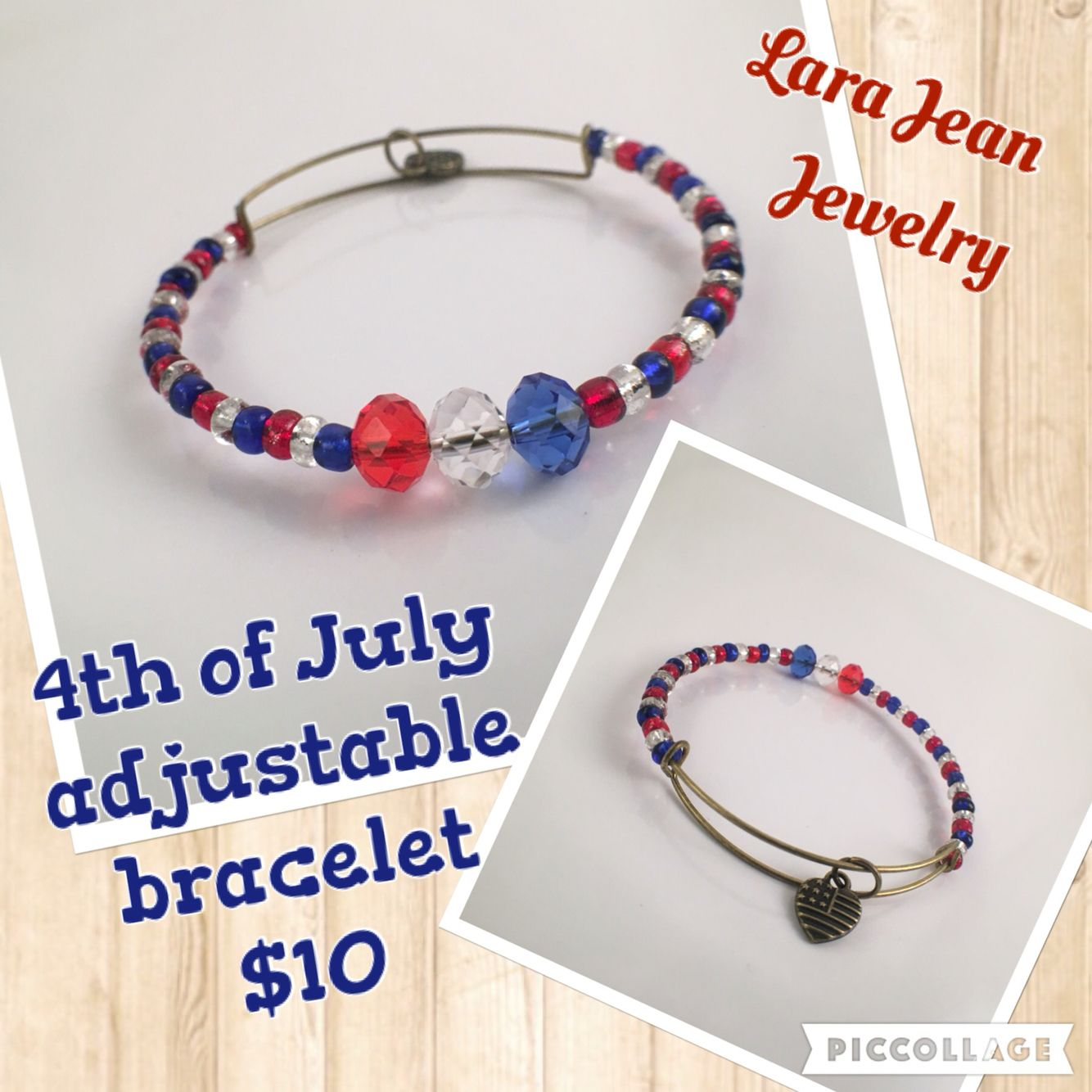 Grab your 4th of July bracelet for $10 BUT if you apply the promo code JUNE15 upon checkout, you will get 15% off your purchase and this lovely bracelet will only be $8.50! Buy now! Limited stocks only! www.larajeanjewelry.com #adjustable #bracelet #independenceday #4thofJuly #red #white #blue #USA #charm #bronze
