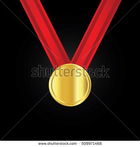Champion gold medal with ribbon on black background silver and