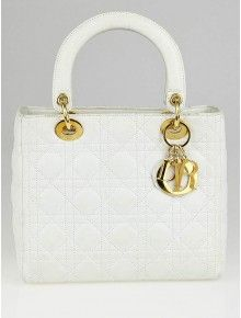 caf10cd58c42 Christian Dior White Cannage Quilted Lambskin Leather Medium Lady Dior Bag