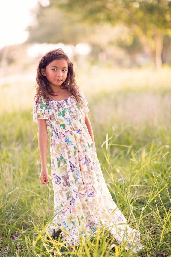 50d1c98c9c5b Butterfly Lace Boho Flower Girl Dress, Bohemian Vintage Lace Maxi Dress  Girls Toddlers, Junior Bride