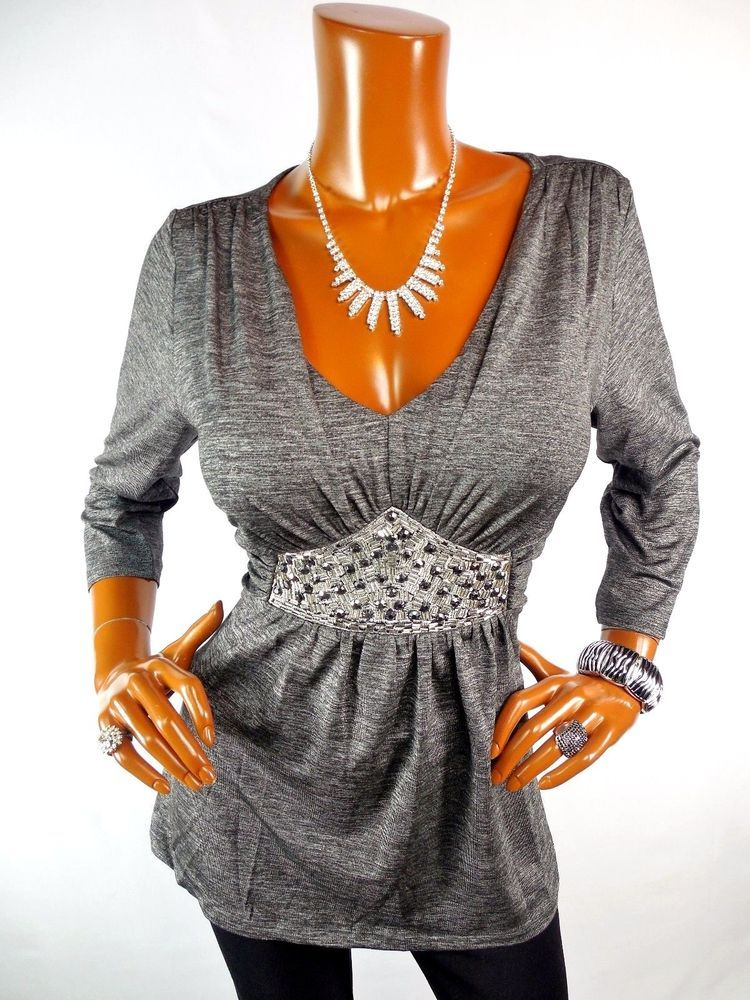 Venus Womens Top L New Sexy Silver Metallic Holiday Blouse Casual