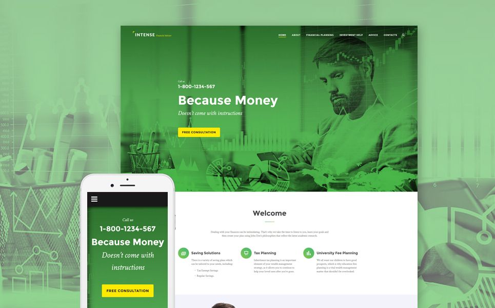 Intense Financial Advisor Website Template Template And Website
