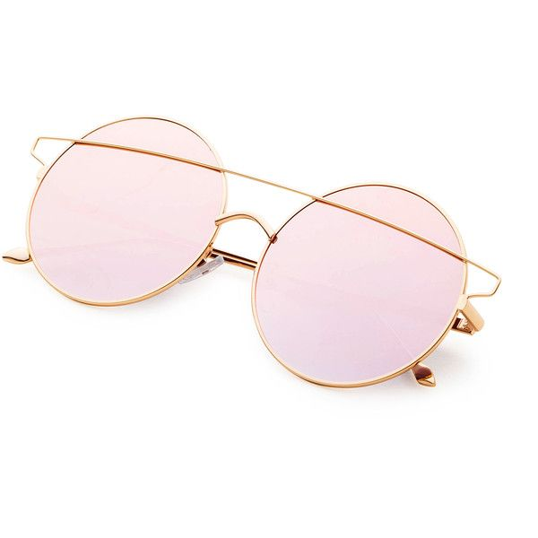 333871ea00 SheIn(sheinside) Pink Double Bridge Round Sunglasses ( 11) ❤ liked on Polyvore  featuring accessories