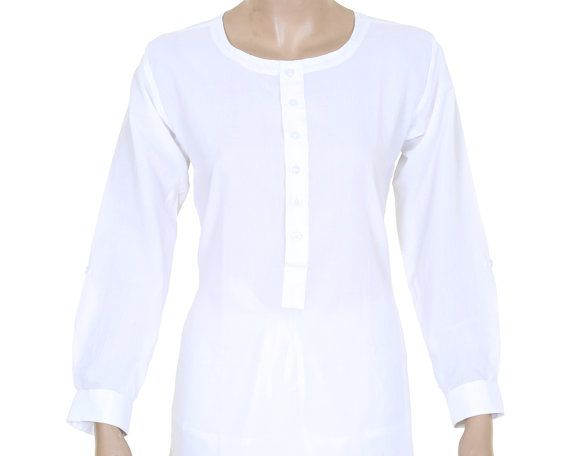 b3b69e7927b5 Indian Ethnic White Plain Cotton Short Top   Tunic   Kurti   Kurta   Women  Dress - Woman Shirt - Ful