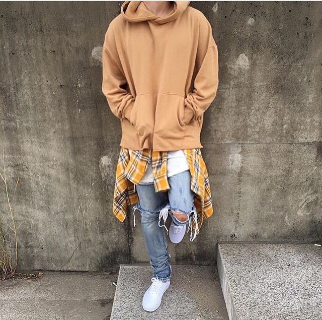 Fear Of God Distressed Jeans With Hoodie Hipster Mens Fashion Mens Street Style Streetwear Outfit