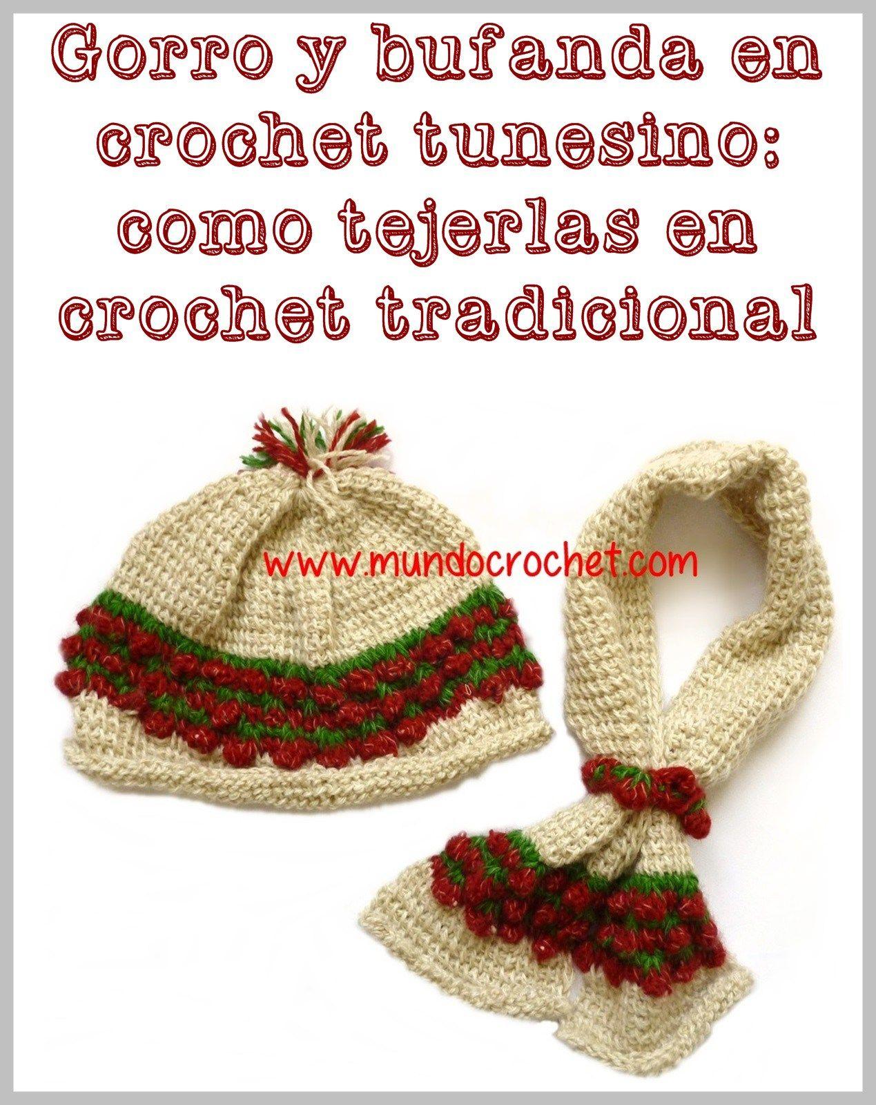 Patron gorro y bufanda en crochet tunesino punto frutilla como ...