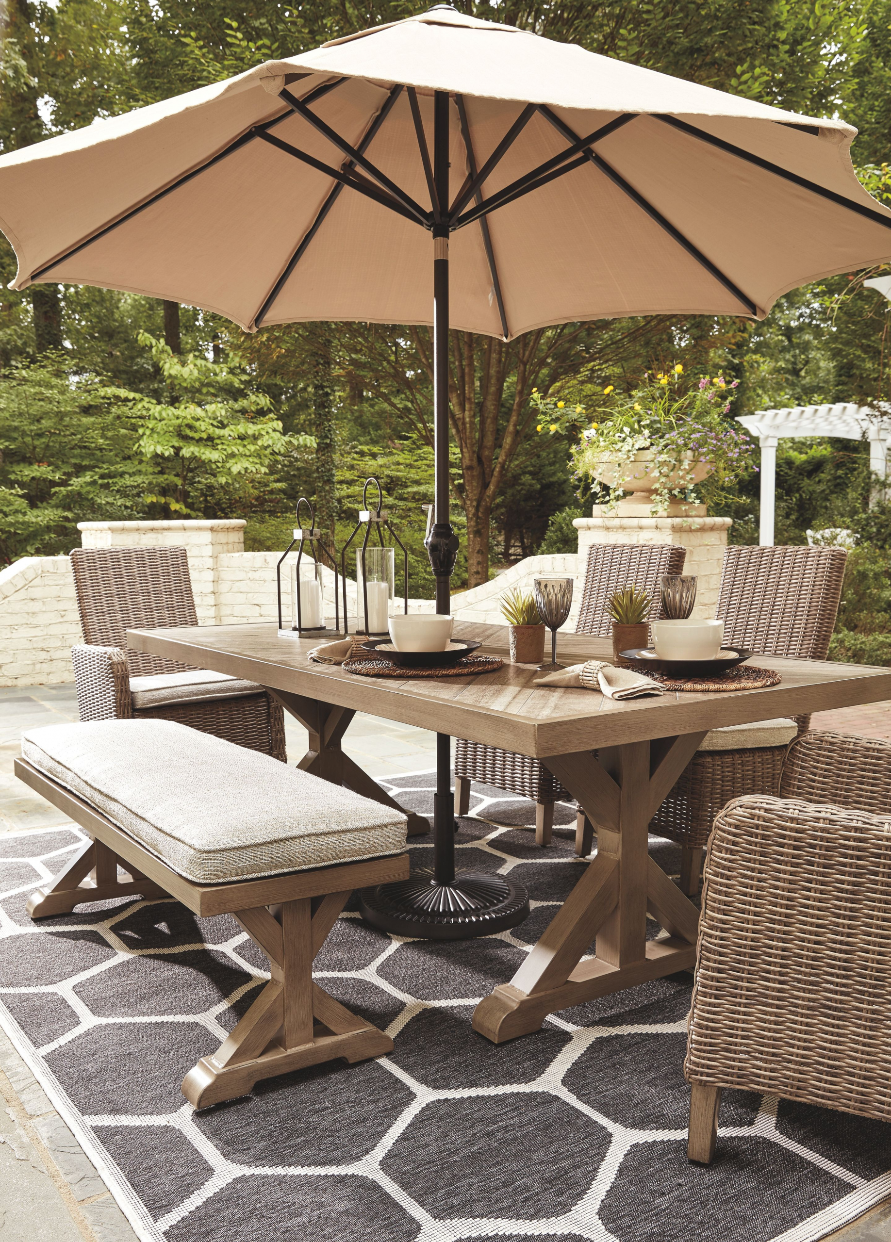 Luxury Outdoor Patio Furniture Dining Backyards Beachcroft Dining Table With Umbrella Option Backyards Outdoor Dining Spaces Backyard Furniture Backyard Dining Patio dining sets with umbrella
