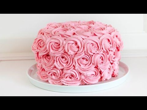rosentorte mit erdbeeren und himbeeren buttercreme rosen torte rezept youtube creme. Black Bedroom Furniture Sets. Home Design Ideas