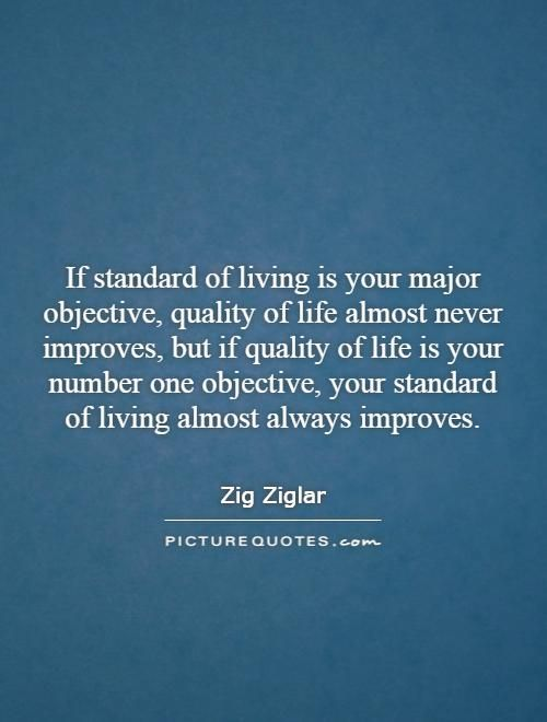 If Standard Of Living Is Your Major Objective Quality Of Life