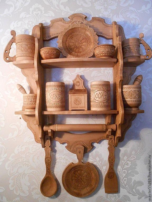 купить или заказать полка с кухонной деревянной посудой в