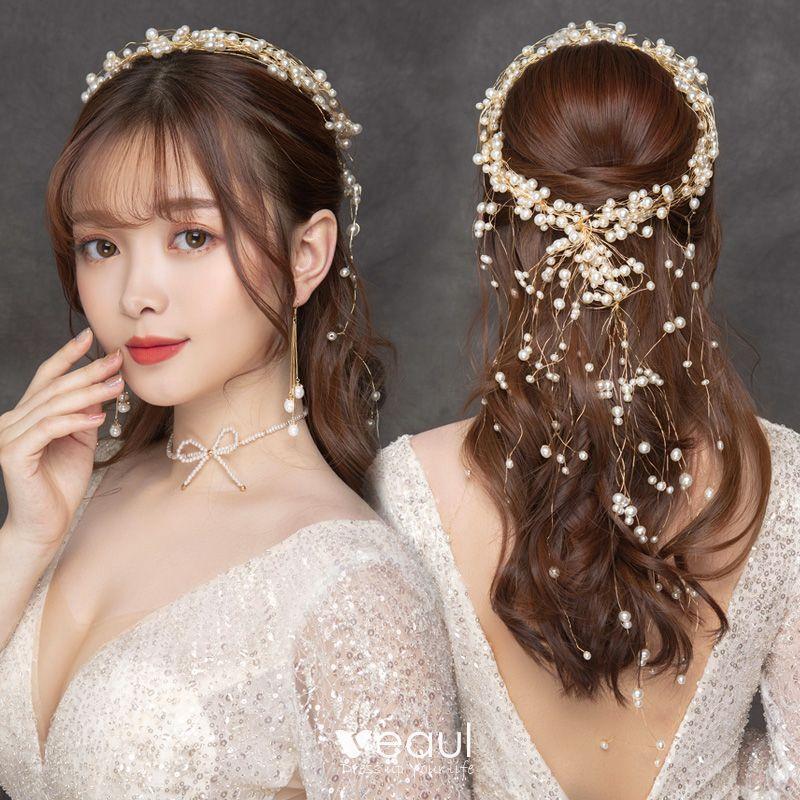 Elegant Gold Headbands Bridal Jewelry