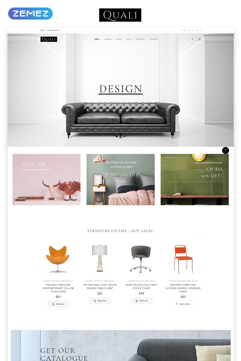 Quali Furniture Multipage Responsive Website Template Ideas