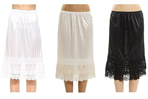 92d362e4a8c3 Melody Women's Long Double Layered Lace Satin Skirt Extender Underskirt  Half Slip 3 Pieces Pack Set
