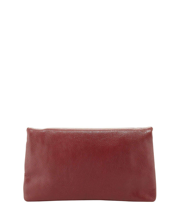 Edge Pebbled Goatskin Envelope Crossbody Bag, Red
