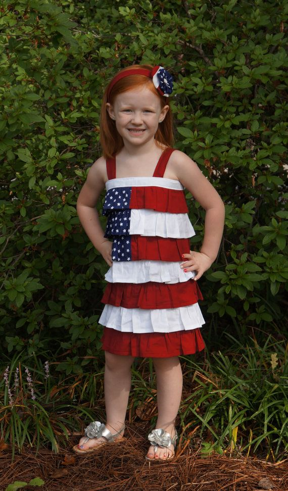 4205d9abb0fd Girl or Toddler Layered Ruffle Dress or Shirt Patriotic American Flag Red  White Blue Stars.  69.00