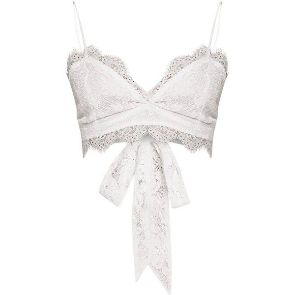 2133419b8ad7e Amelie White Tie Back Lace Bralet ( 22) ❤ liked on Polyvore featuring tops