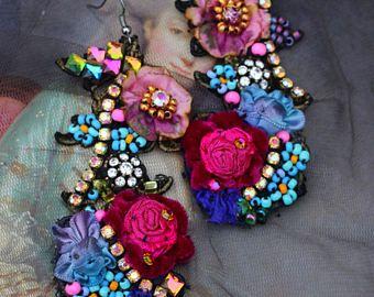 Boucle d'oreille perle et rubis