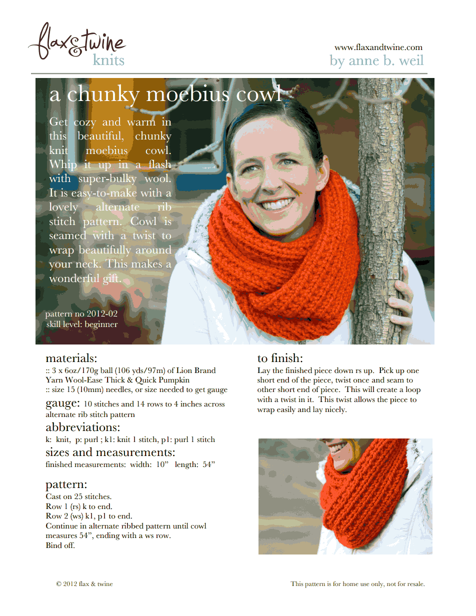 A Chunky Moebius Cowl final.pdf | Sewing & crafts | Pinterest