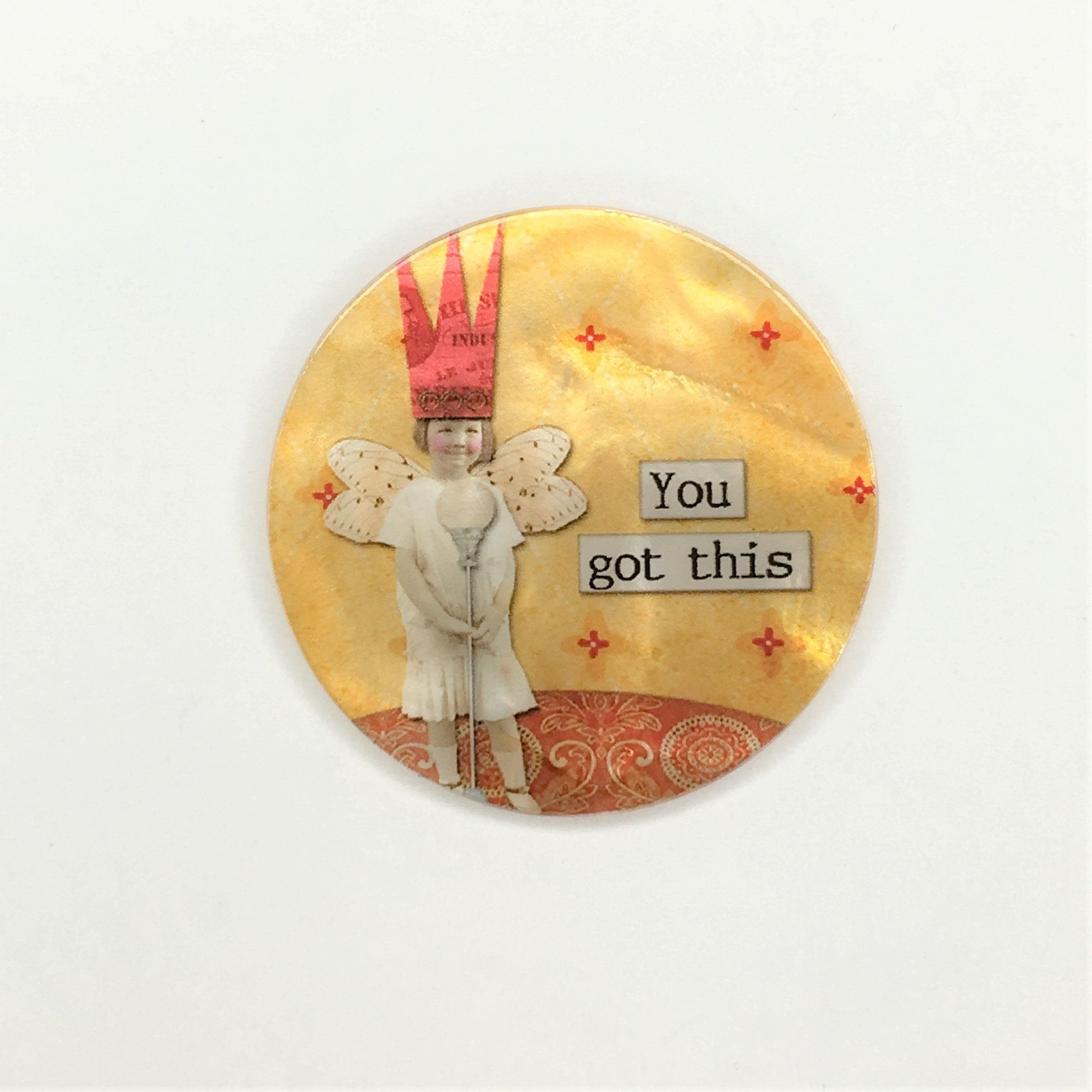 Inspirational Sayings Altered Art-PR-1833 Mother of Pearl-Button or Cabochon