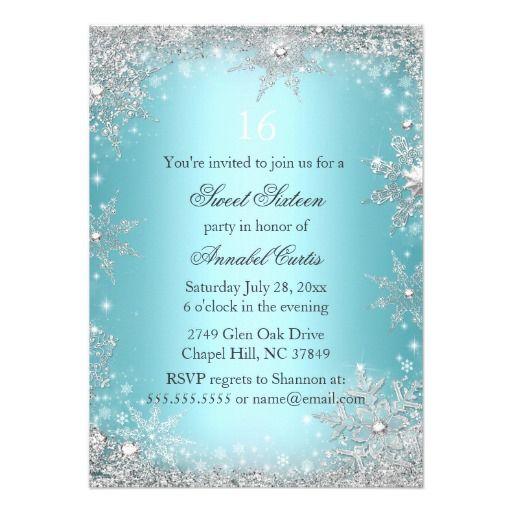 teal princess winter wonderland sweet 16 invite in 2018 dress