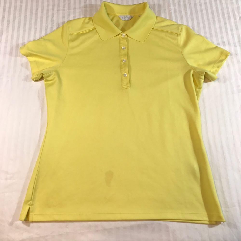 Callaway Women Golf Polo Shirt Large Bright Pastel Yellow Short Sleeve Climacool