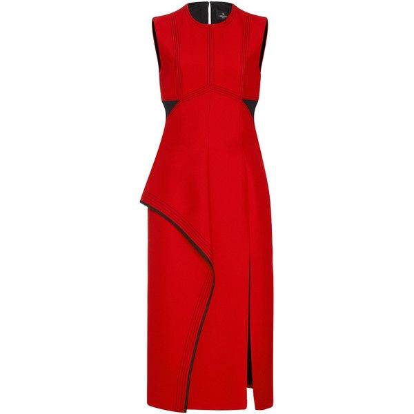 J. Mendel Crepe Layered Sheath Dress (18.860 NOK) ❤ liked on Polyvore featuring dresses, red crepe dress, crepe dress, red sheath dress, crepe sheath dress and red layered dress