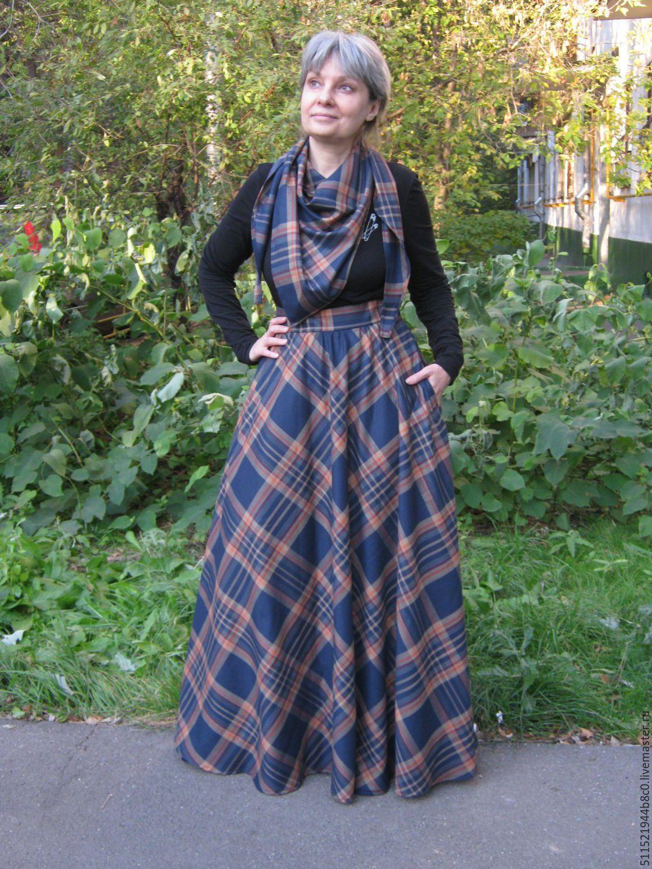 bb93f799c8a7c Купить Юбка в клетку комплект - осенняя юбка, юбка с шарфом, юбка с  карманами, длинная юбка