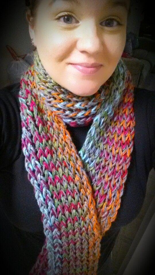 Grey-yarn/multi-colored yarn knit scarf I made for myself ...