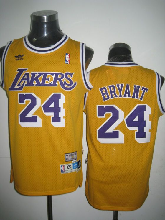 4425f676369 Adidas NBA Los Angeles Lakers 24 Kobe Bryant Swingman Yellow Throwback  Jersey