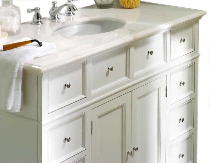 Hampton Bay 44W Single Bath Vanity with White Marble Top Sink