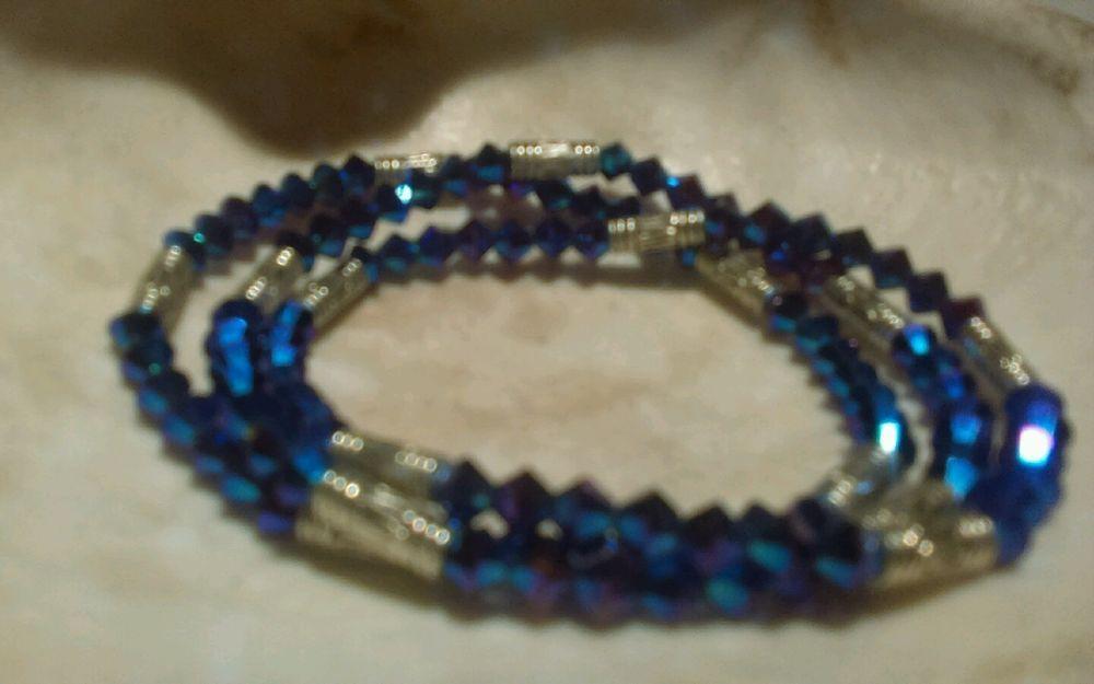 Swarovski Beaded Garnet 2xab three set Stretch handmade Bracelets 6.7-7…