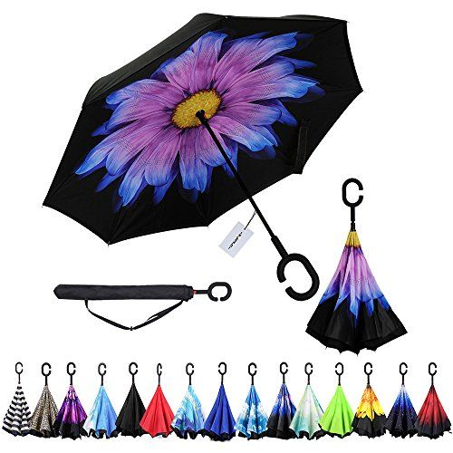 Windproof Double Layer Folding Inverted Umbrella Self Stand Upsidedown Rain Protection Car Reverse Umbrellas with Cshaped Handle Purple Daisy * Check out the image by visiting the link. Note:It is Affiliate Link to Amazon.