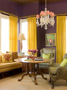 Beautiful Combo Dark Purple Walls With Brilliant Yellow Curtains