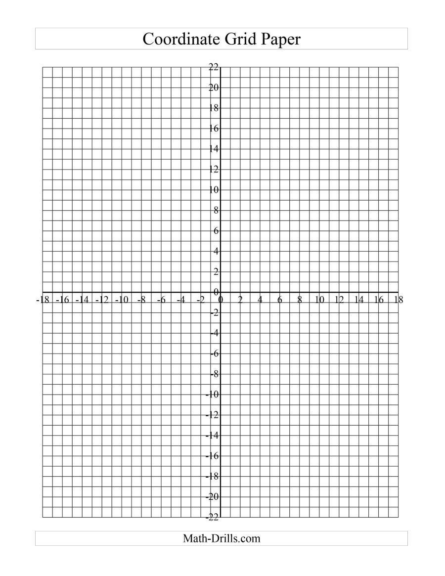 medium resolution of The Coordinate Grid Paper (B) Math Worksheet from the Graph Papers Page at  Math-Drills.com.   Coordinate grid