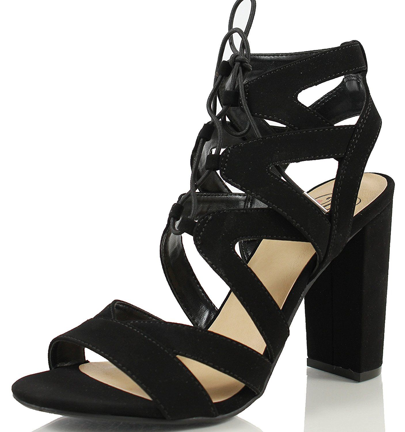 66091c0e490 Delicious Women s Mazie Lace Up Cage Gladiator Block Heel Dress Sandal      You can find out more details at the link of the image.