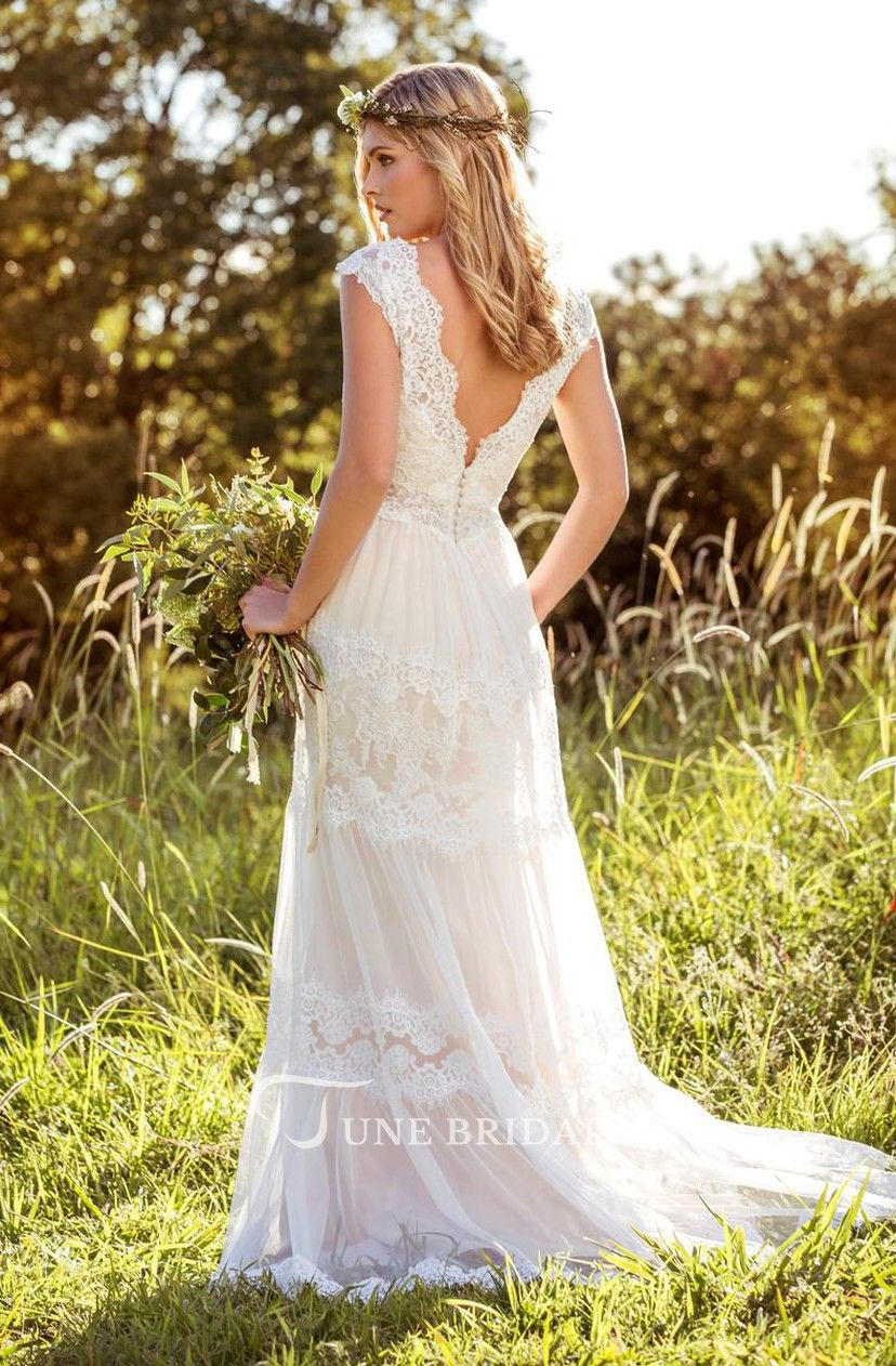 V Neck Long Cap Sleeve Appliqued Lace Tulle Wedding Dress June Bridals In 2020 Cap Sleeve Wedding Dress Lace Bohemian Wedding Dress Lace Bohemian Wedding Dresses