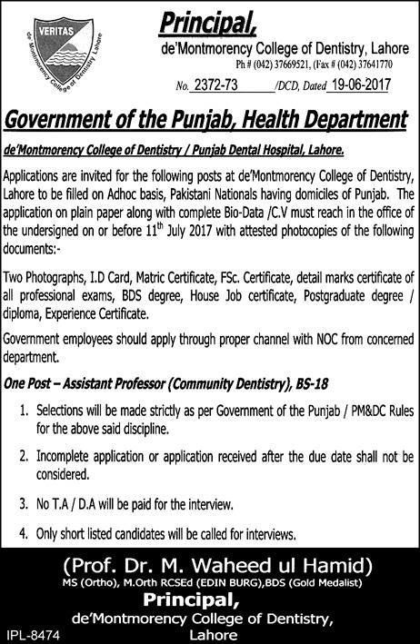 Jobs in deMontmorency College of Dentistry Lahore Pinterest - noc certificate for employee